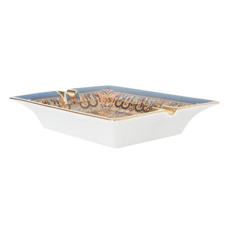 Hermes Ashtray Les Jardins D'Armenie Ashtray Bleu / Or Porcelain New w/ Box 1
