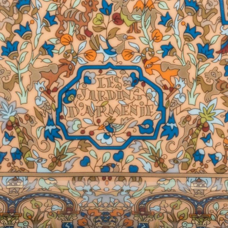 Hermes Ashtray Les Jardins D'Armenie Ashtray Bleu / Or Porcelain New w/ Box 3