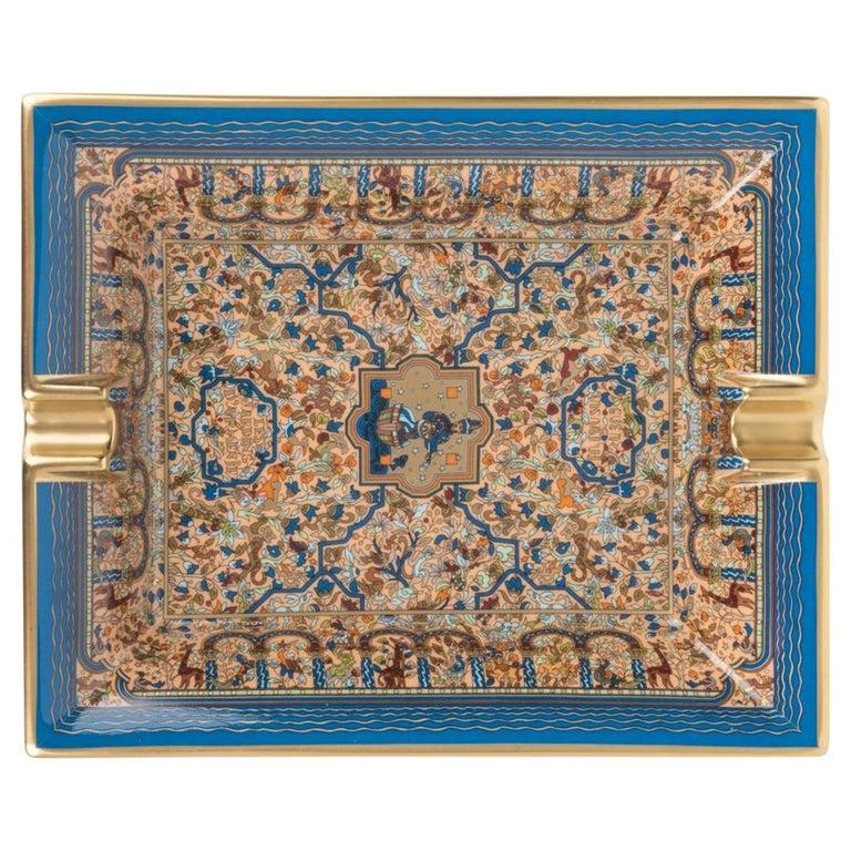 Hermes Ashtray Les Jardins D'Armenie Ashtray Bleu / Or Porcelain New w/ Box