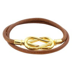 Hermes Atame Leather & Gold Knot Necklace