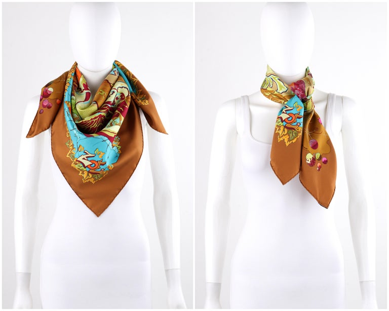 """Brown HERMES """"Aube Libre Comme L'Ange"""" Zoe Paulwes 1999 Orange Yellow Square Scarf  For Sale"""
