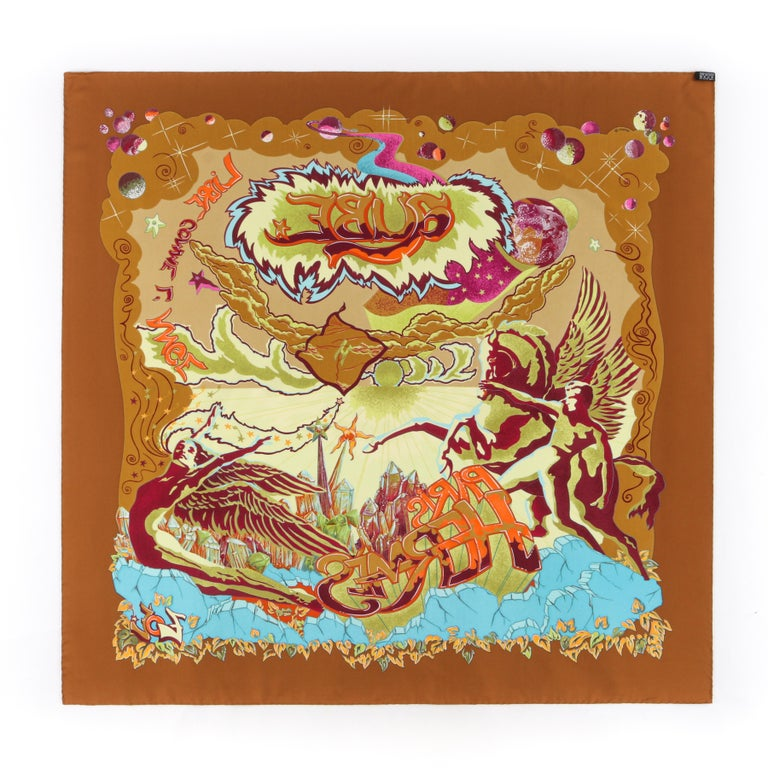 """HERMES """"Aube Libre Comme L'Ange"""" Zoe Paulwes 1999 Orange Yellow Square Scarf  In Excellent Condition For Sale In Thiensville, WI"""