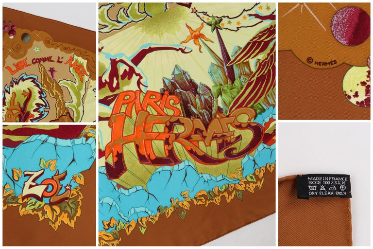 """HERMES """"Aube Libre Comme L'Ange"""" Zoe Paulwes 1999 Orange Yellow Square Scarf  For Sale 1"""