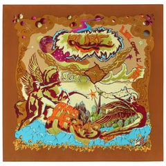 """HERMES """"Aube Libre Comme L'Ange"""" Zoe Paulwes 1999 Orange Yellow Square Scarf"""