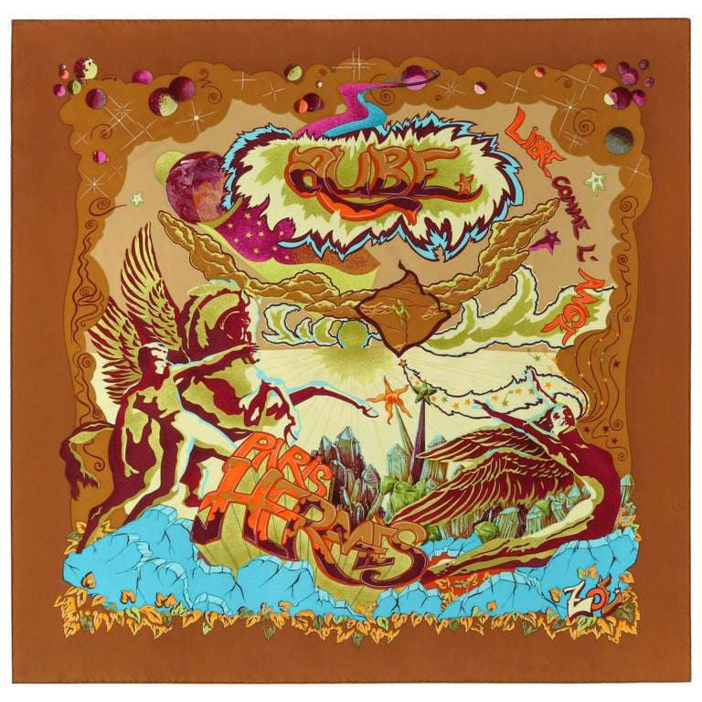 """HERMES """"Aube Libre Comme L'Ange"""" Zoe Paulwes 1999 Orange Yellow Square Scarf  For Sale"""
