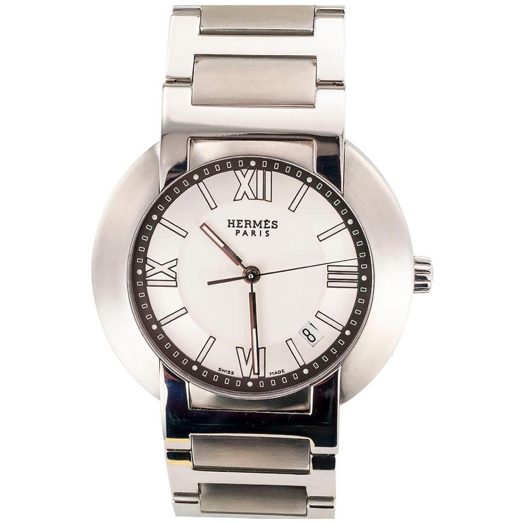 Hermes Automatic Quartz Movement Gentlemans Steel Wristwatch
