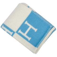 Hermes Avalon Baby Blanket Blue Genievre and Blanc New