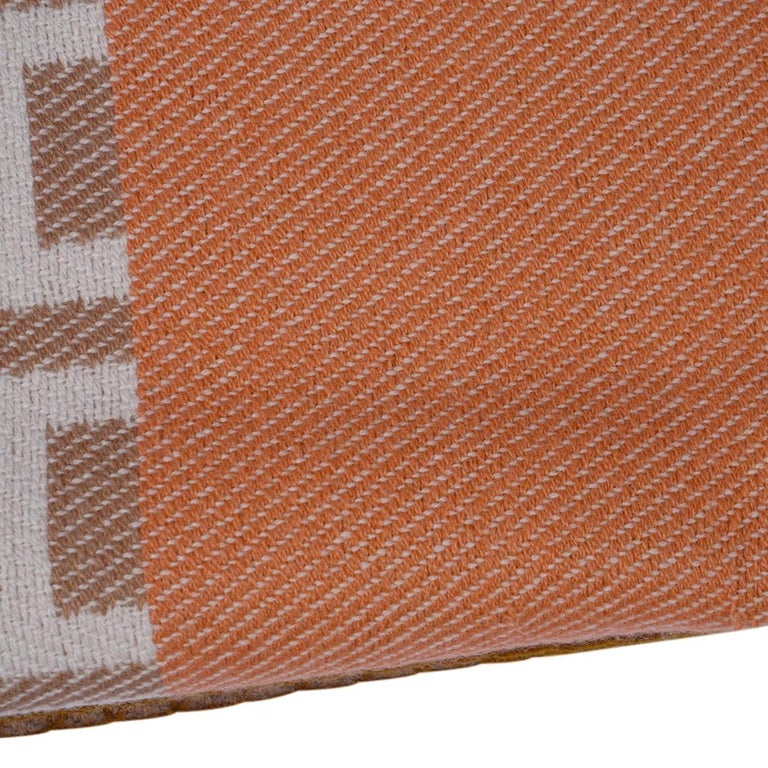 Hermes Avalon Terre D'H Blanket Corail Hand Woven Cashmere New wBox For Sale 7