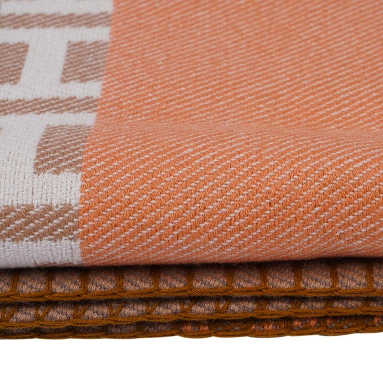 Hermes Avalon Terre D'H Blanket Corail Hand Woven Cashmere New wBox For Sale 9