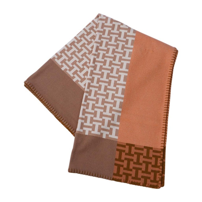 Brown Hermes Avalon Terre D'H Blanket Corail Hand Woven Cashmere New wBox For Sale
