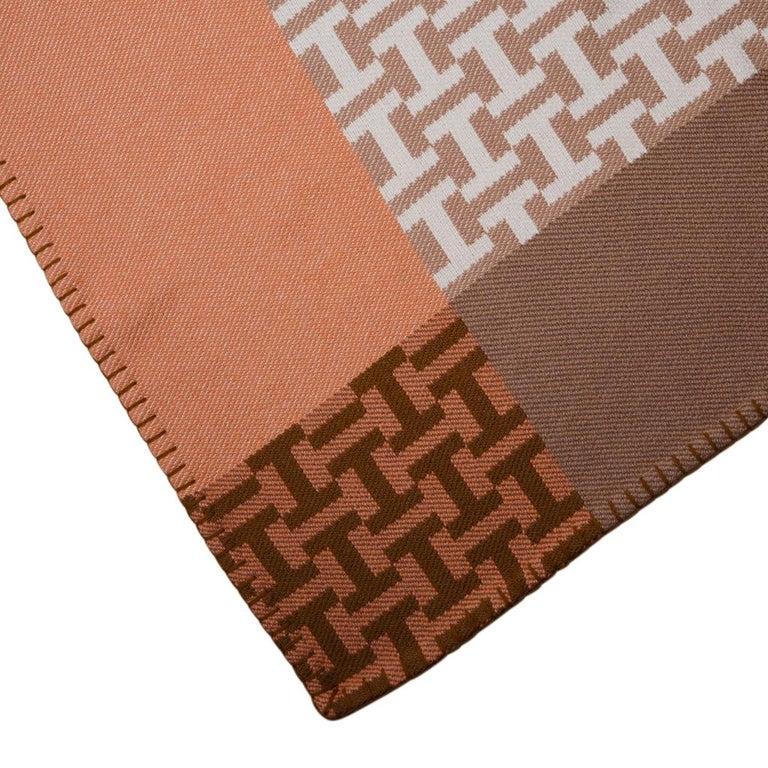 Women's or Men's Hermes Avalon Terre D'H Blanket Corail Hand Woven Cashmere New wBox For Sale