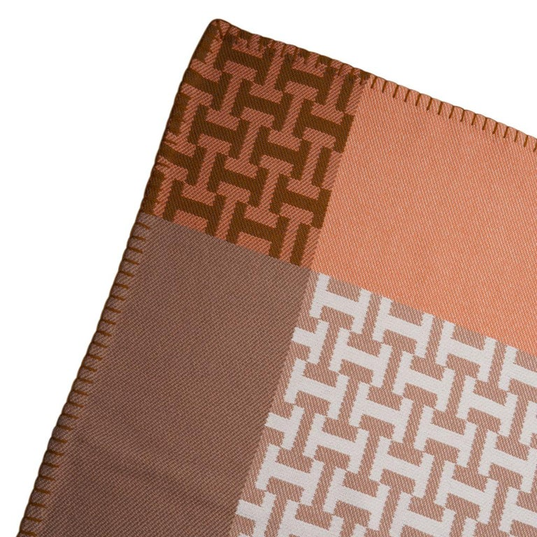 Hermes Avalon Terre D'H Blanket Corail Hand Woven Cashmere New wBox For Sale 1