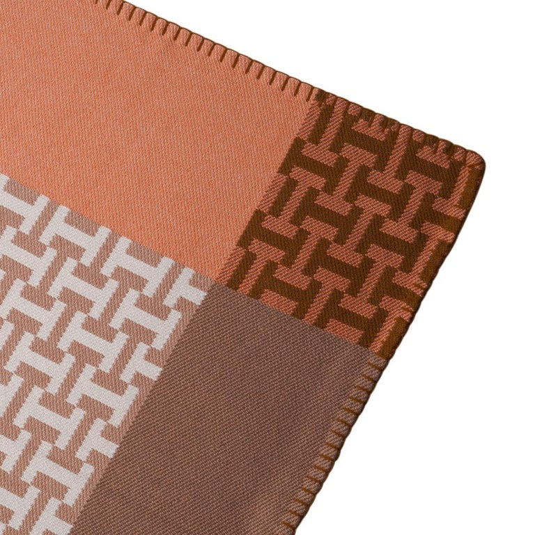 Hermes Avalon Terre D'H Blanket Corail Hand Woven Cashmere New wBox For Sale 2
