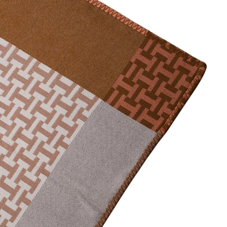 Hermes Avalon Terre D'H Blanket Corail Hand Woven Cashmere New wBox For Sale 4