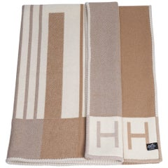 Hermes Avalon Vibration Throw Blanket Ecru Naturel Wool / Cashmere New