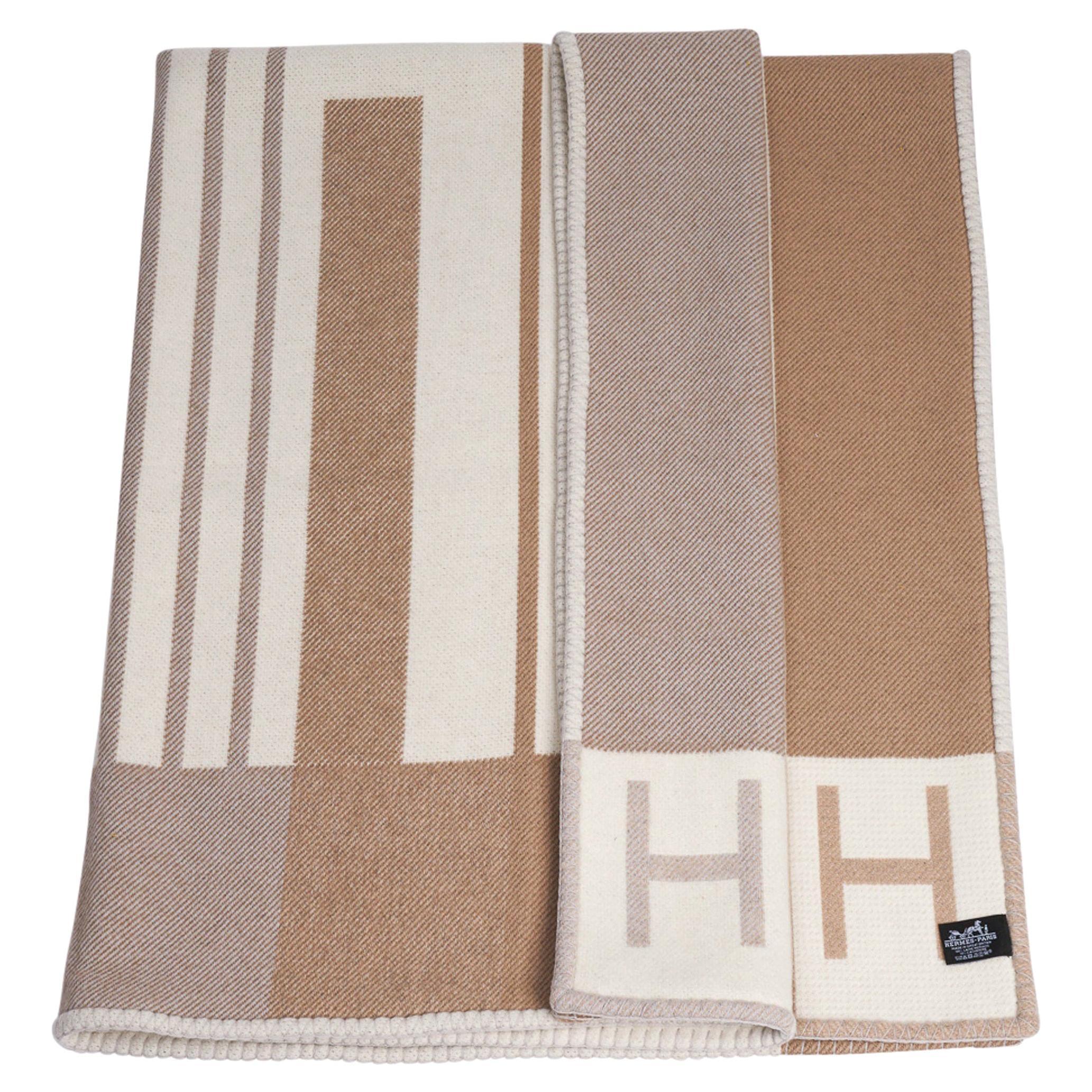 Hermes Avalon Vibration Throw Blanket Ecru Naturel Wool / Cashmere New