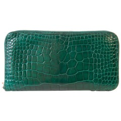 Hermès Azap Crocodile Green Leather Wallet