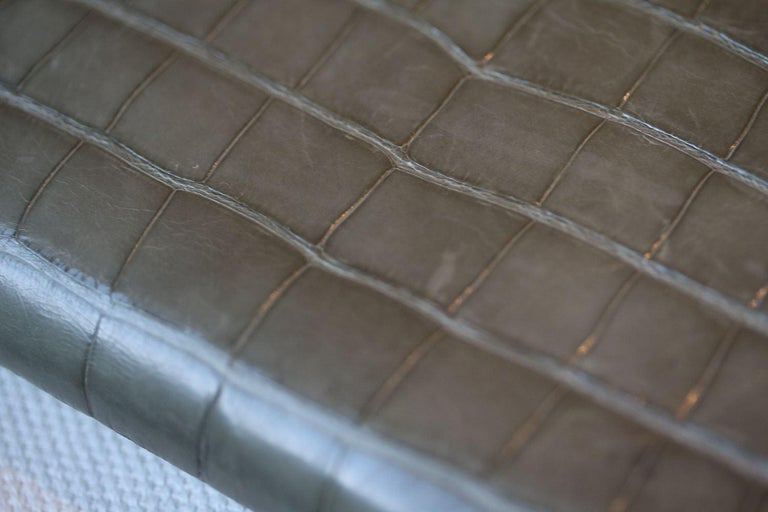 Gray Hermès Azap Crocodile Leather Long Wallet  For Sale