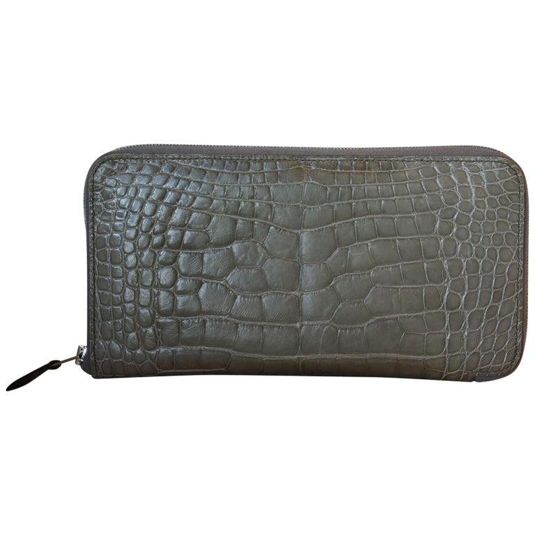 Hermès Azap Crocodile Leather Long Wallet  For Sale