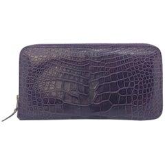 Hermès Azap Purple Crocodile Leather Long Wallet