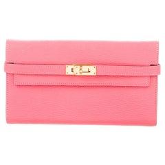 Hermes Baby Pink Leather Gold Envelope Evening Clutch Wallet
