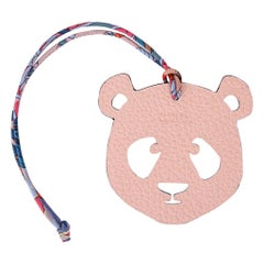 Hermes Bag Charm Bi-Color Panda Blue / Rose Eglantine New w/Box