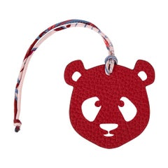 Hermes Bag Charm Bi-Color Panda Grey / Rouge H New w/Box