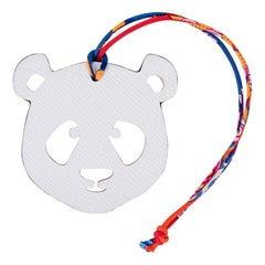 Hermes Bag Charm Bi-Color Panda Rouge H / White New w/Box