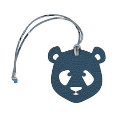 Hermes Bag Charm Bi-Color Panda White and Blue New w/Box