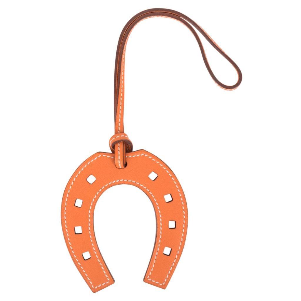 Hermes Bag Charm Paddock Fer a Cheval Horse Shoe Orange New w/ Box