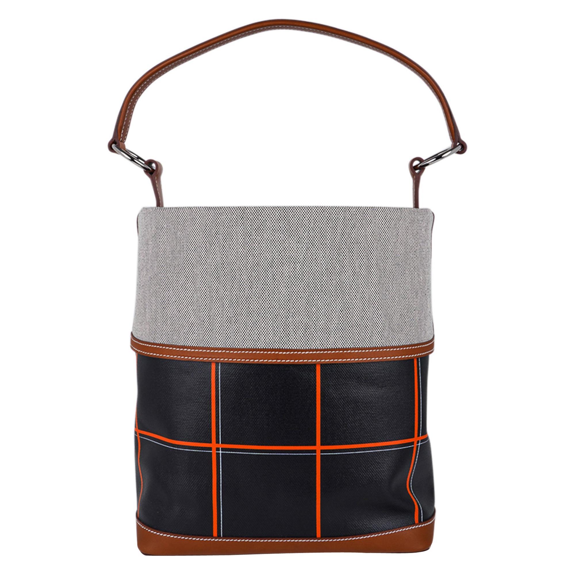 Hermes Bag Col Roule Noir Toile Berline / Barenia Leather Tote New