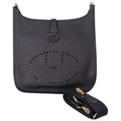Hermes Bag Evelyne GM Black Clemence Gold Hardware