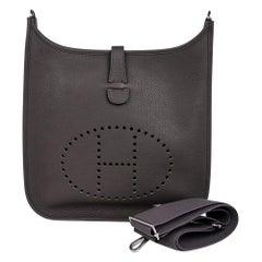 Hermes Bag Evelyne GM Etain Clemence Palladium Hardware