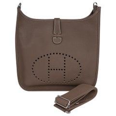 Hermes Bag Evelyne GM Etoupe Clemence Palladium Hardware New w/ Box