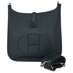 Hermes Bag Evelyne GM Vert Fonce Clemence Palladium Hardware New w/ Box