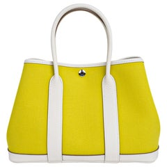 Hermes Bag Garden Party 30 Bag Lime Toile Officier / Blanc Vache Country Leather