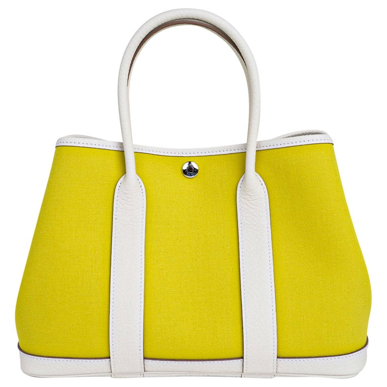 Hermes Bag Garden Party 30 Bag Lime Toile Officier / Blanc Vache Country Leather For Sale