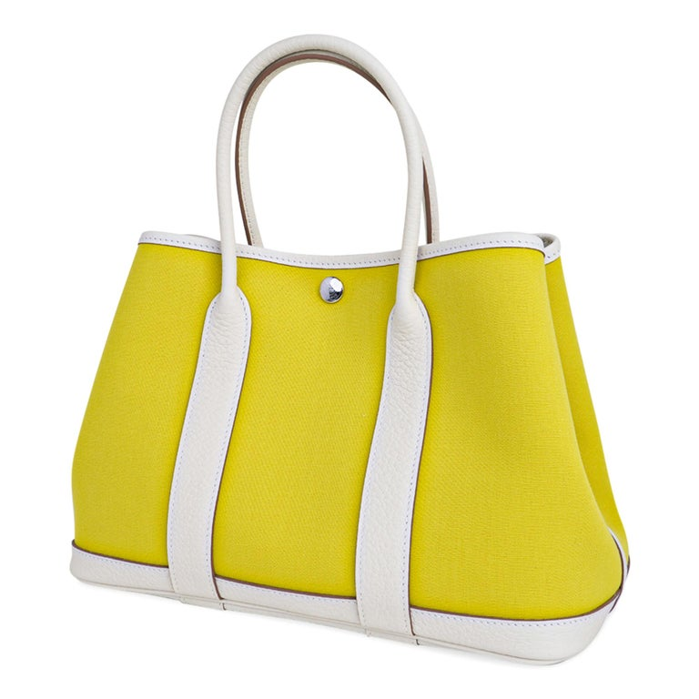 Hermes Bag Garden Party 30 Bag Lime Toile Officier / Blanc Vache Country Leather In New Condition For Sale In Miami, FL