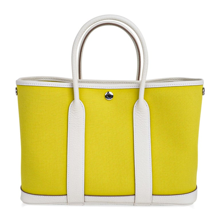 Women's Hermes Bag Garden Party 30 Bag Lime Toile Officier / Blanc Vache Country Leather For Sale