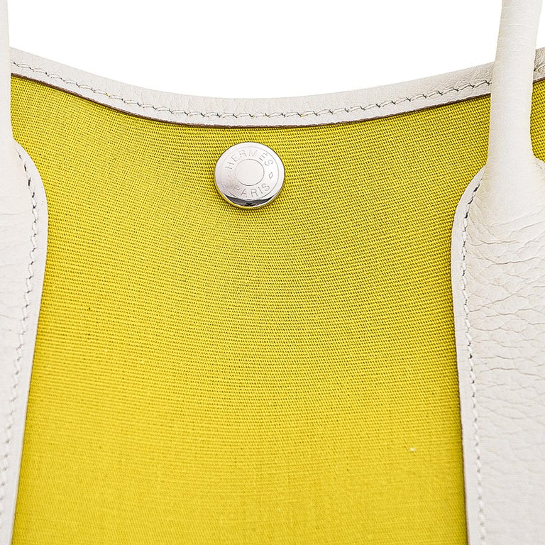 Hermes Bag Garden Party 30 Bag Lime Toile Officier / Blanc Vache Country Leather For Sale 2