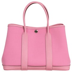 Hermes Bag Garden Party Toile Negonda 30 PM 5P Pink Palladium