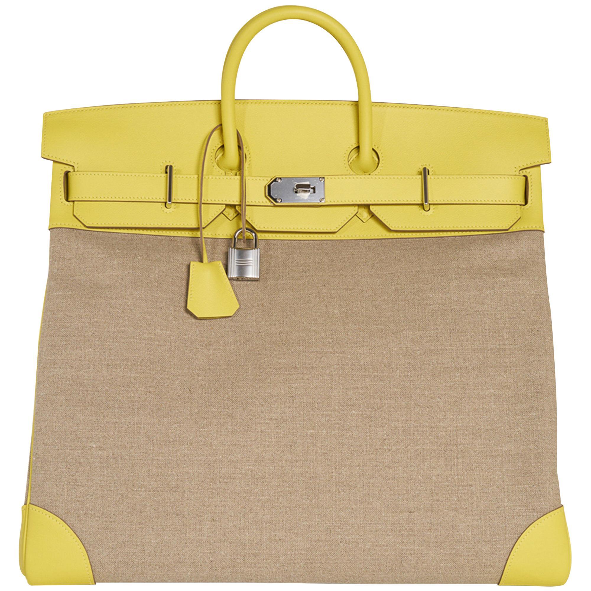 Hermes Bag Hac 50 Lime Evercolor Ficelle Toile Palladium Hardware New w/Box
