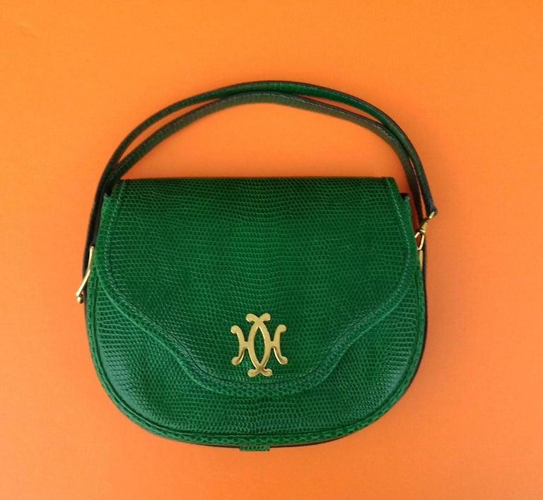 Exceptional Hermès Lift Bag 4 ways Emerald Green Lizard H Buckle Ghw Rare For Sale 6
