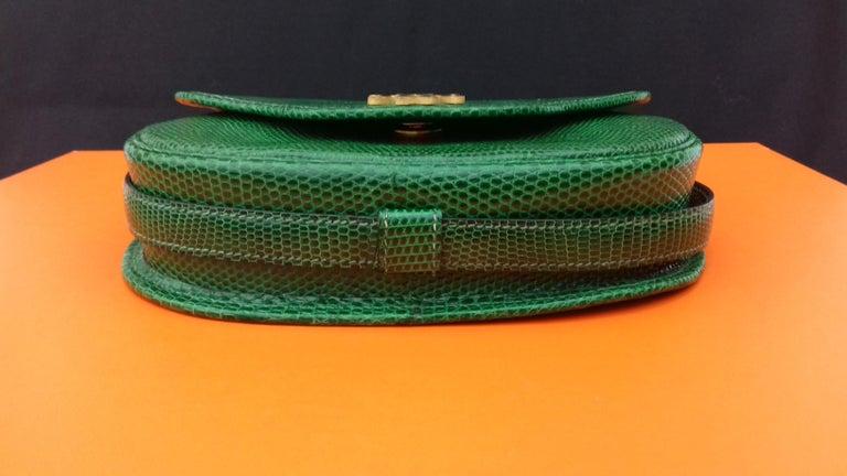 Exceptional Hermès Lift Bag 4 ways Emerald Green Lizard H Buckle Ghw Rare For Sale 7