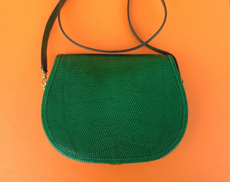 Exceptional Hermès Lift Bag 4 ways Emerald Green Lizard H Buckle Ghw Rare For Sale 2