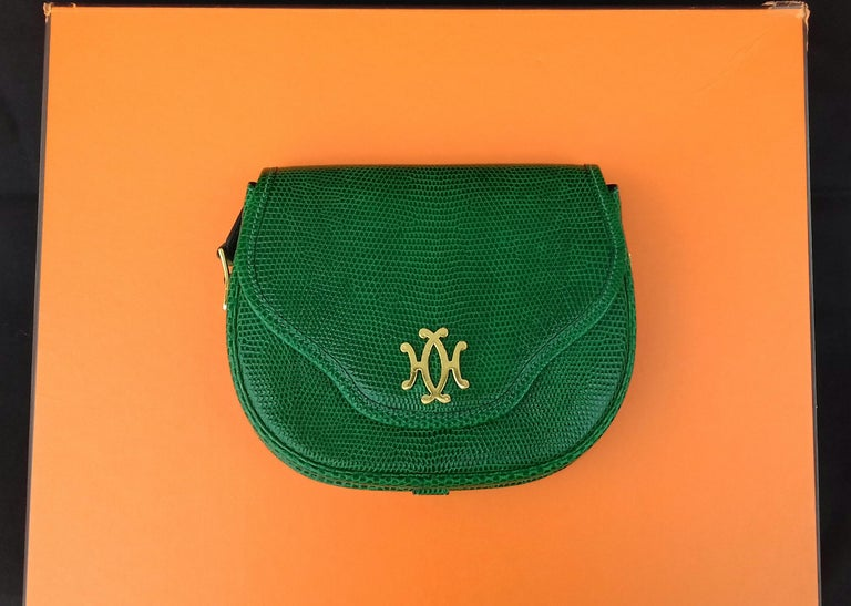 Exceptional Hermès Lift Bag 4 ways Emerald Green Lizard H Buckle Ghw Rare For Sale 5