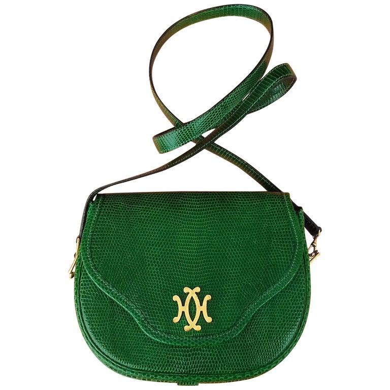 Exceptional Hermès Lift Bag 4 ways Emerald Green Lizard H Buckle Ghw Rare For Sale