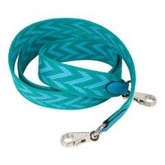 Hermes Bag Strap Sangle Zig Zag 25 MM Blue / Green Swift Palladium