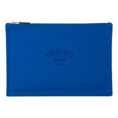 Hermes Bain Flat Yachting Pouch Case Electric Blue Cotton Large
