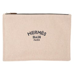 Hermes Bain Flat Yachting Pouch Case Natural w/ Navy Blue Writing Cotton Large